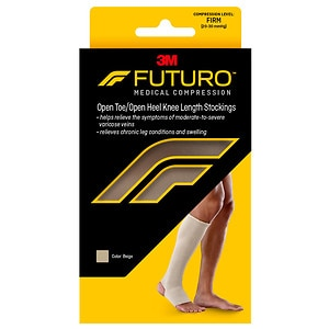 FUTURO Therapeutic Support Open Toe/Heel, Knee High, Firm Compression, Beige, XL