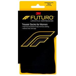 FUTURO Energizing Trouser Socks for Women, Mild, Black, Medi