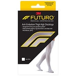 FUTURO Anti-Embolism Stockings, Thigh Length, Closed Toe, White, Medium/Regular