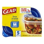 Glad Food Storage Containers, Soup & Salad, 24 oz- 5 ea