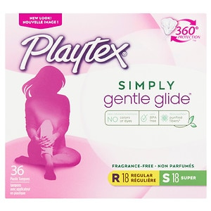 Playtex Gentle Glide Tampons, Unscented Multipack, 18 Regular & 18 Super- 36 ea