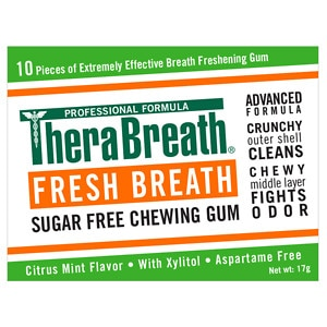TheraBreath Fresh Breath Xylitol Chewing Gum, Icy Fresh- 12 ea