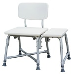 Medline Transfer Bench with Back and Push Buttons, Bariatric