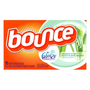 Bounce Fabric Softener Dryer Sheets with Febreze, Meadows & Rain