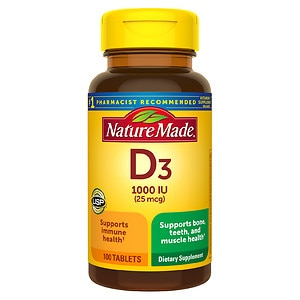 Nature Made Vitamin D3, 1000 IU, Tablets, 100 ea