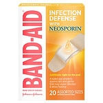 Band-Aid Plus Antibiotic Adhesive Bandages, Assorted Sizes- 20 ea