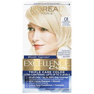L'Oreal Paris Excellence Creme Triple Protection Color Creme Permanent Haircolor, Extra Light Ash Blonde 01- 1 ea