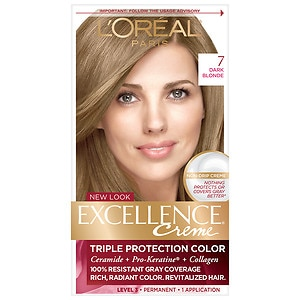 L'Oreal Paris Excellence Creme Triple Protection Color Creme Haircolor, Dark Blonde 7