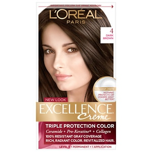 L'Oreal Paris Excellence Creme Triple Protection Color Creme Haircolor, Dark Brown 4