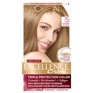 L'Oreal Paris Excellence Creme Triple Protection Color Creme Permanent Haircolor, Dark Golden Blonde 7G