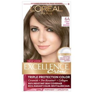 L'Oreal Paris Excellence Creme Triple Protection Color Creme Haircolor, Light Ash Brown 6A