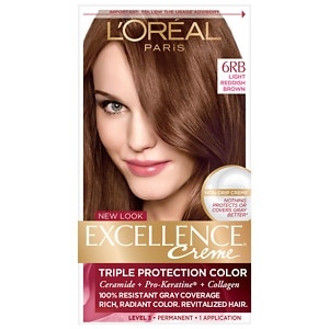 L'Oreal Paris Excellence Creme Triple Protection Color Creme Haircolor, Light Reddish Brown 6RB