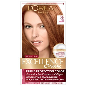 L'Oreal Paris Excellence Creme Triple Protection Color Creme Haircolor, Red Penny 7R