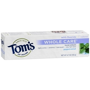 Tom's of Maine Whole Care with Fluoride Natural Toothpaste, Peppermint