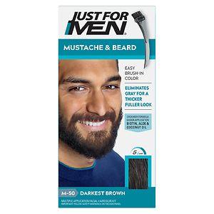 Just For Men Brush-In Color Gel for Mustache & Beard, Darkest Brown M-50