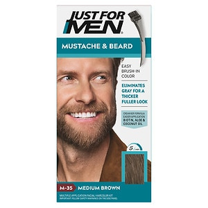 Just For Men Brush-In Color Gel for Mustache & Beard, Medium Brown M-35