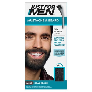 Just For Men Brush-In Color Gel for Mustache & Beard, Real Black M-55