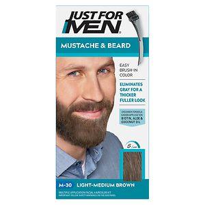 Just For Men Brush-In Color Gel for Mustache & Beard, Light Medium Brown M-30
