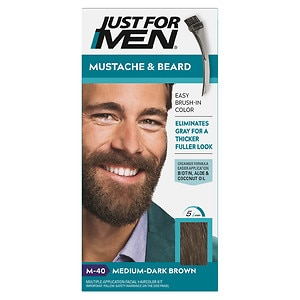 Just For Men Brush-In Color Gel for Mustache & Beard, Medium Dark Brown M-40