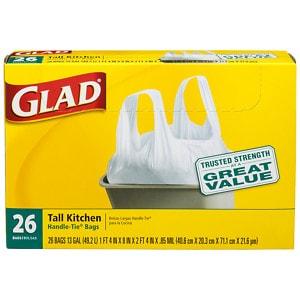 Glad Tall Kitchen Handle-Tie Trash Bags, White, 13 Gallon- 26 ea