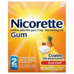 Nicorette Nicotine Gum, 2 mg, Fruit Chill- 100 ea