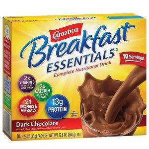 Carnation Breakfast Essentials Complete Nutritional Drink, Packets, Dark Chocolate, 10 pk