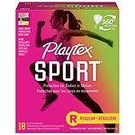 Playtex Sport Tampons, Unscented, Regular, 18 ea- 1 pack