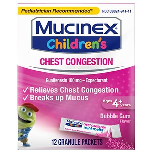Children's Mucinex Chest Congestion Expectorant, Mini-Melts, Bubble Gum- 12 ea