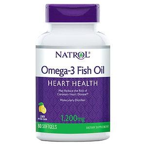 Natrol Omega 3 Fish Oil, 1200mg, Softgels, Lemon, 60 ea
