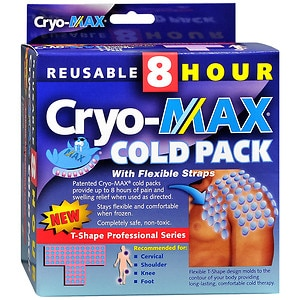 Cryo-Max Cold Pack with Flexible Straps, Reusable, T-Shape- 1 ea