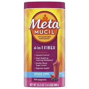 Metamucil Smooth Sugar Free Fiber Powder, 114 Teaspoons, Berry- 23.3 oz