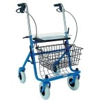 Duro-Med Rollator Steel With Brakes - 4-Whl Blue 30.5-38.5HX23W