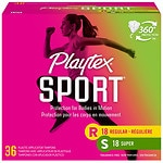 Playtex Sport Tampons, Unscented Multipack, 18 Regular, 18