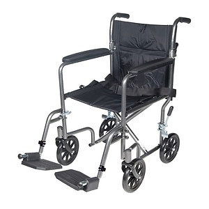 Drive Medical Lightweight Steel Transport Wheelchair with Fixed Full Arms, 17 inch, Silver Vein