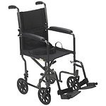 Drive Medical Lightweight Steel Transport Wheelchair with Fixed Full Arms, 19 inch, Silver Vein- 1 ea
