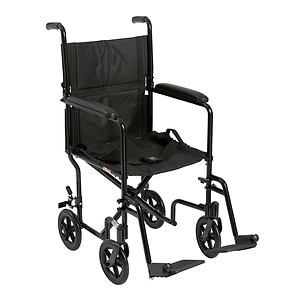 Drive Medical Lightweight Transport Wheelchair, 17 Inch, Black