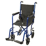 Drive Medical Lightweight Transport Wheelchair, 17 Inch, Blue- 1 ea