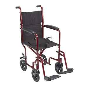 Drive Medical Lightweight Transport Wheelchair, 17 Inch, Red