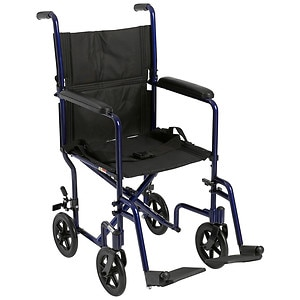 Drive Medical Lightweight Transport Wheelchair, 19 Inch, Black