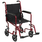 Drive Medical Aluminum Transport Chair, Red
