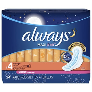 Always Fresh Maxi Active Pads Overnight with Flexi-Wings, Clean Scent