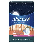 Always Fresh Ultra Thin Active Overnight Pads with Flexi-Wings , Scented- 24 ea
