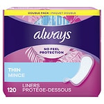 Always Incredibly Thin Daily Liners, Double Pack, Regular, 120 ea