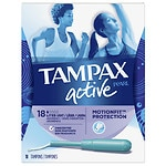 Tampax Pearl Active Plastic Tampons, Unscented, Lite, 18 ea