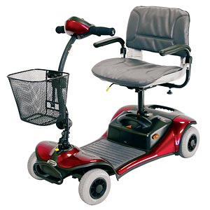 Shoprider Dasher 4 Wheel Scooter, Red-Blue-Champagne