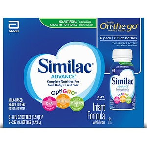 Similac Advance Complete Nutrition, On-the-Go Infant Formula with Iron, Ready to Feed, 8 fl oz Bottles- 6 ea