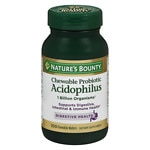 Nature's Bounty Acidophilus with Bifidum, Chewable Probiotic, Natural Strawberry