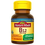 Nature Made Vitamin B-12, 500mcg, Tablets- 100 ea