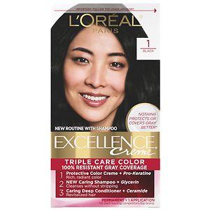 L'Oreal Paris Excellence Creme Triple Protection Color Creme Permanent Haircolor, Black 1