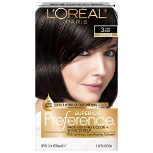 L'Oreal Superior Preference Fade Defying Color & Shine System, Permanent, Soft Black 3